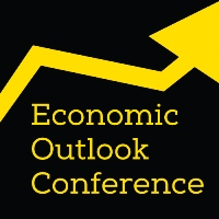 Economic Outlook Conference and yellow arrow pointing upward on a black background.