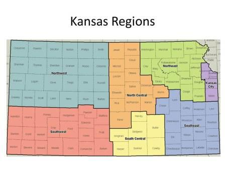 Map of Kansas, divided into regions