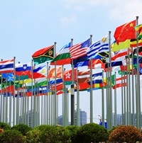 Photo of flags from many countries.